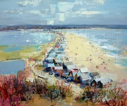 Meandering Huts, Mudeford by Tom Butler -  sized 36x30 inches. Available from Whitewall Galleries